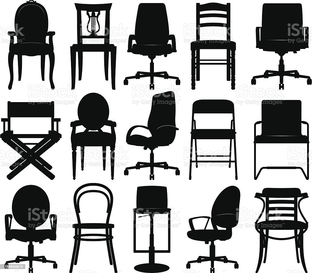 Chairs silhouettes collection vector art illustration