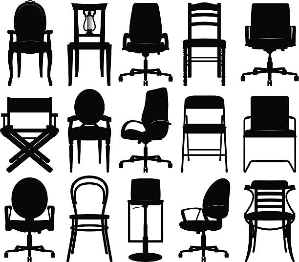 stockillustraties, clipart, cartoons en iconen met chairs silhouettes collection - stoel