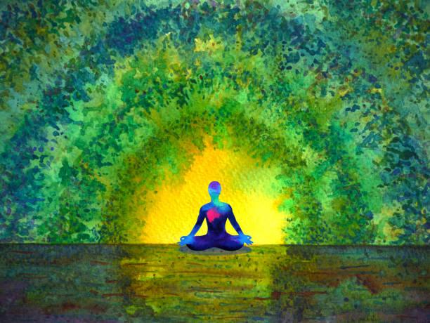 stockillustraties, clipart, cartoons en iconen met chakra color menselijke lotus pose yoga in groene boom forest tunnel, abstracte wereld, universum in je geest mentale, aquarel schilderij illustratie ontwerp hand getrokken - geestelijk welzijn
