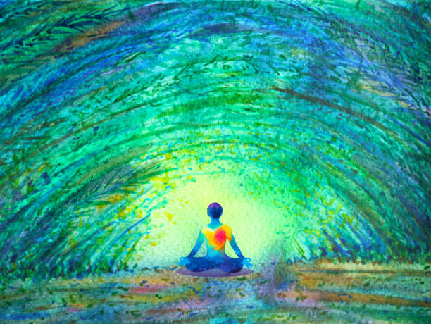 chakra color human lotus pose yoga in green tree forest tunnel, abstract world, universe inside your mind mental, watercolor painting illustration design hand drawn chakra color human lotus pose yoga in green tree forest tunnel, abstract world, universe inside your mind mental, watercolor painting illustration design hand drawn inhaling stock illustrations