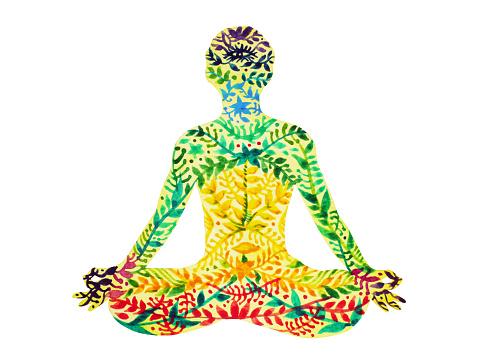 7 chakra color lotus pose yoga flower floral pattern