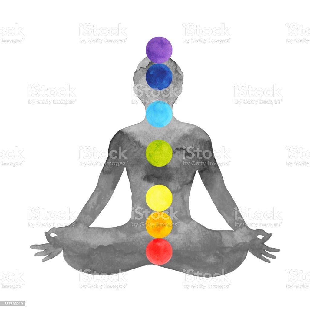 ioga para pose de lótus do cor 7 chakra, aquarela pintada a mão desenhada design ilustração - ilustração de arte em vetor