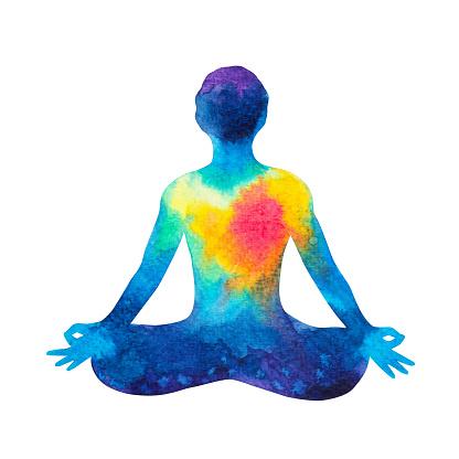 7 chakra human lotus pose yoga abstract world universe