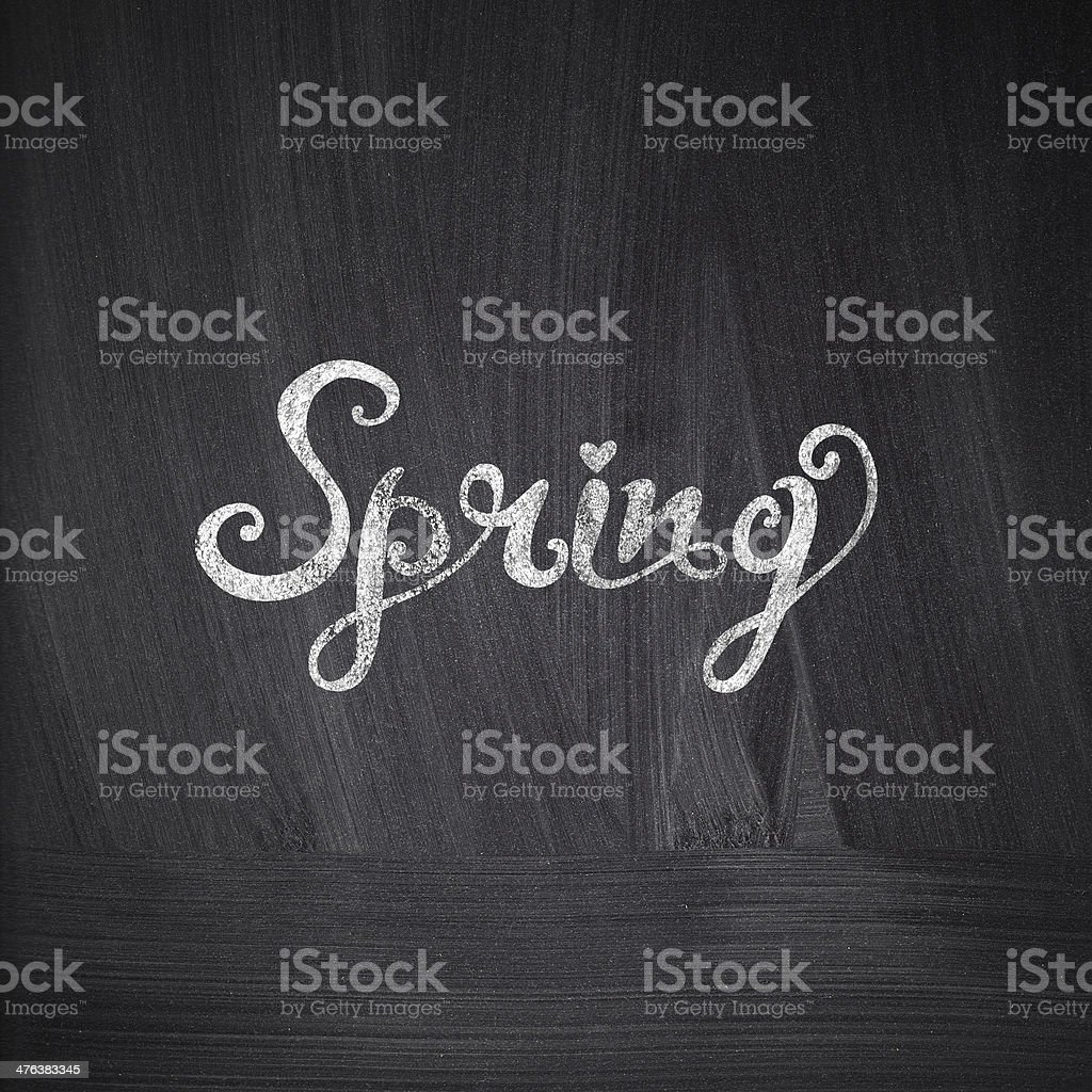 Chalk drawing card with 'Spring' lettering royalty-free stock vector art