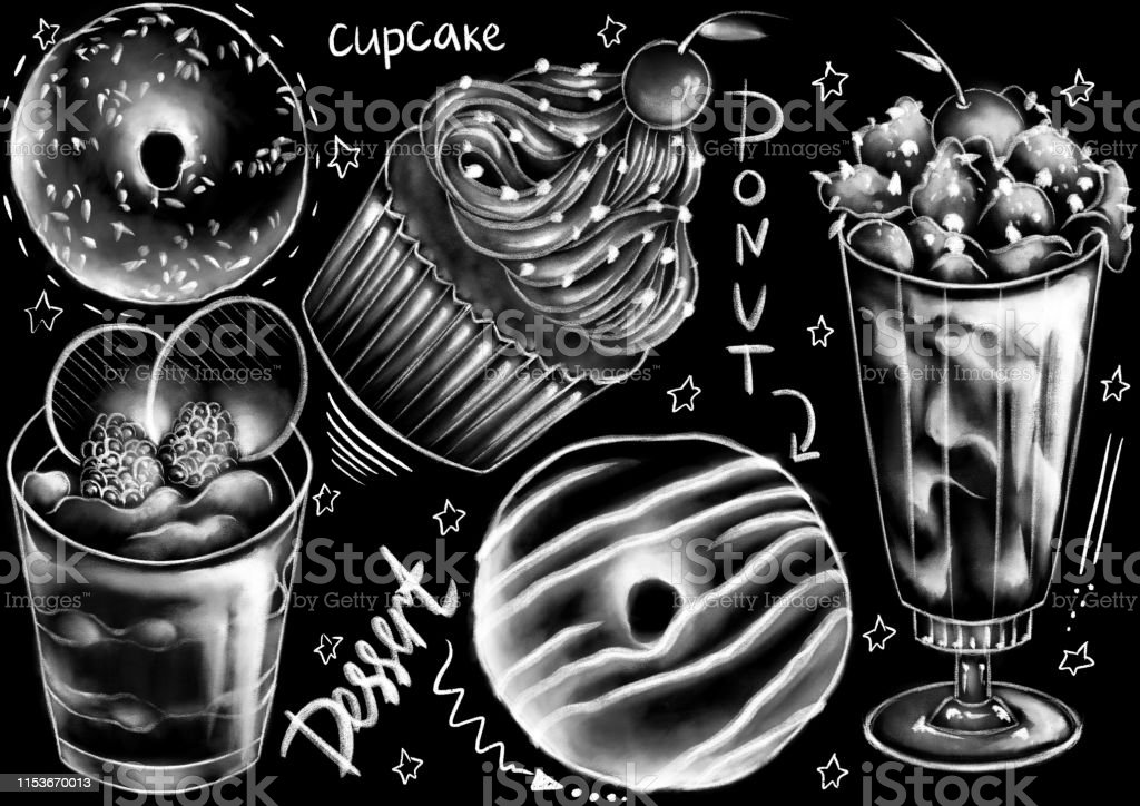 white cafe. Chalk drawn style food, package, dish, and calligraphy...