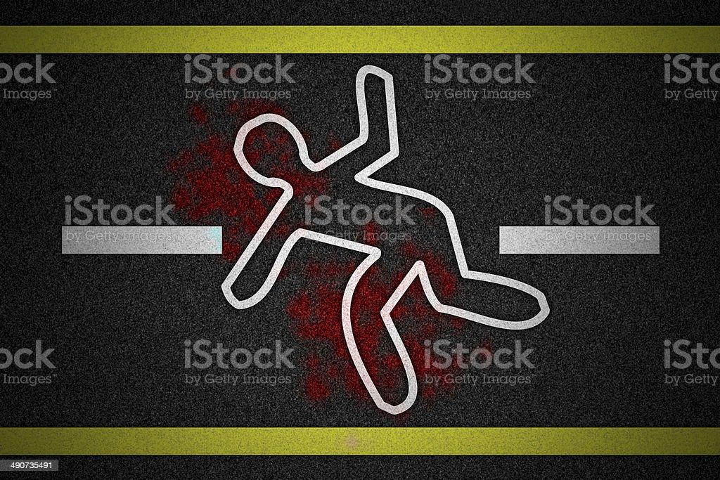 Chalk outline of dead body on asphalt road vector art illustration