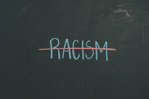 "Chalkboard sign letters ""Racism"""