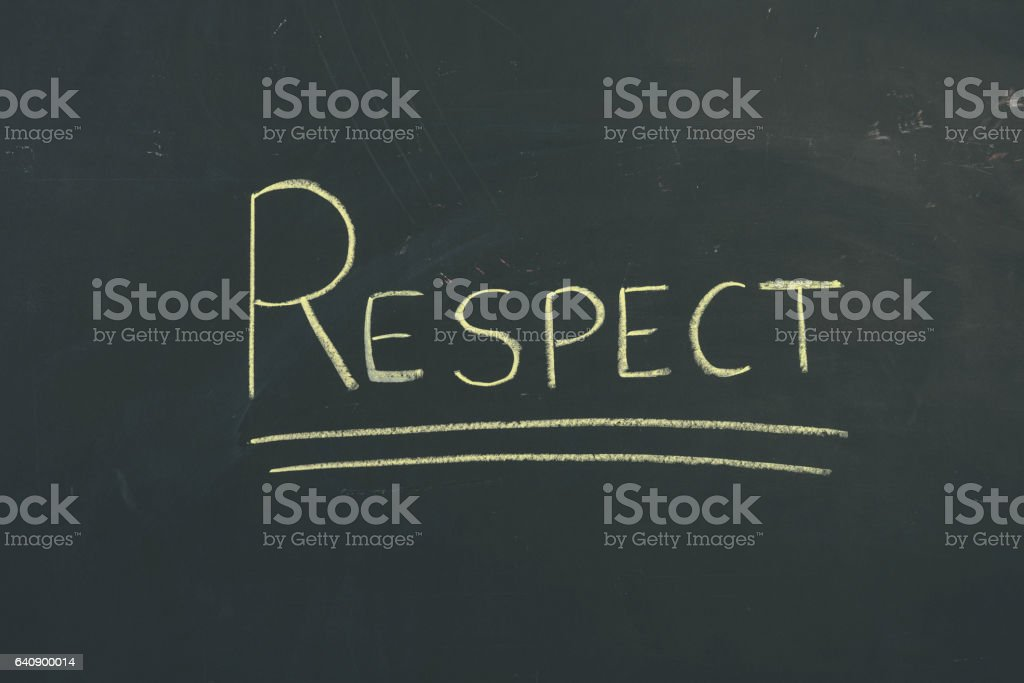 Chalkboard sign letters 'Respect' vector art illustration