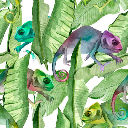 Chameleon in the jungle watercolor seamless pattern.