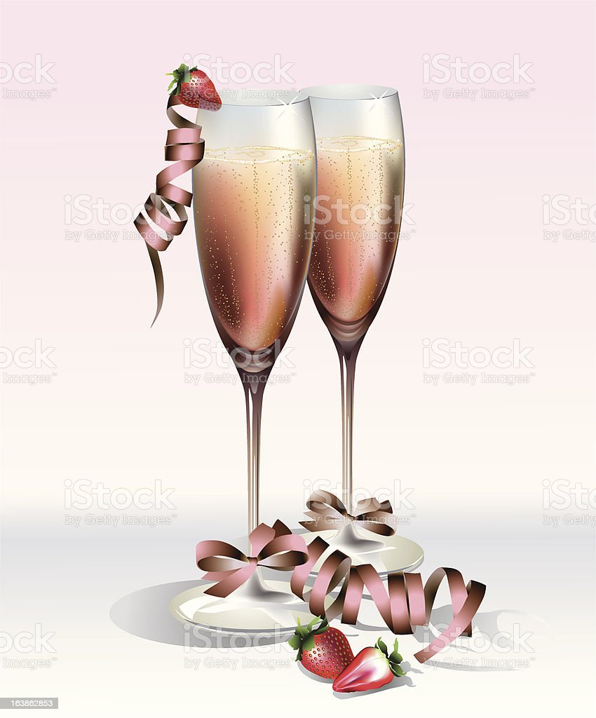 champagne and strawberries royalty-free stock vector art