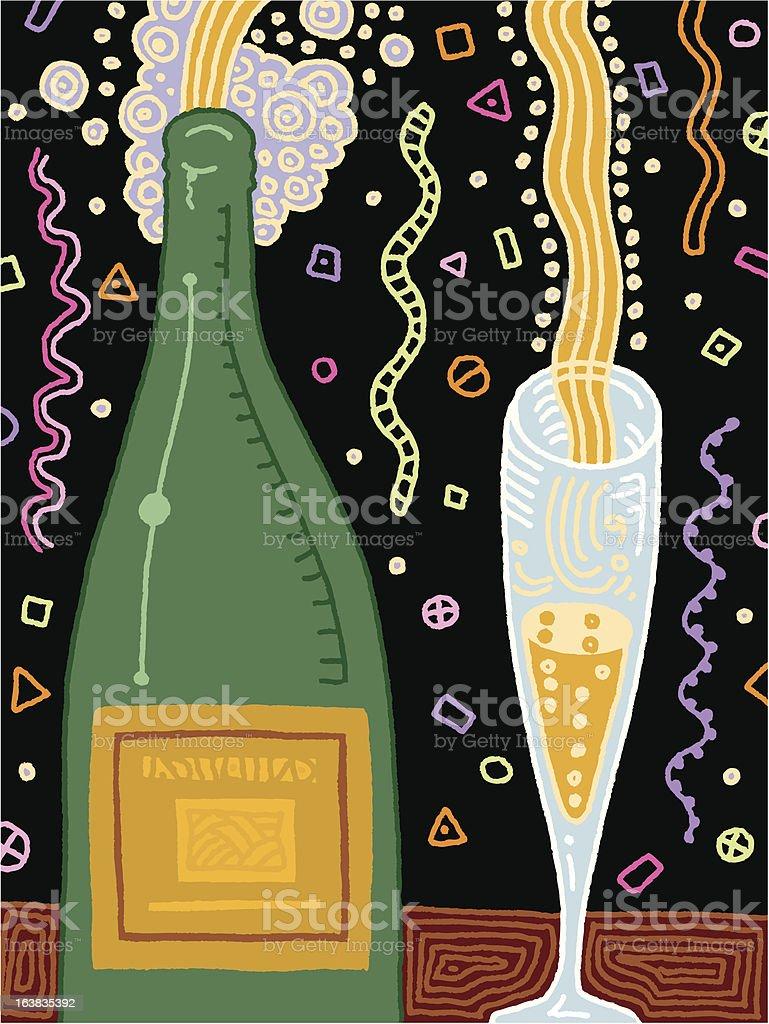 Champagne Flowing vector art illustration