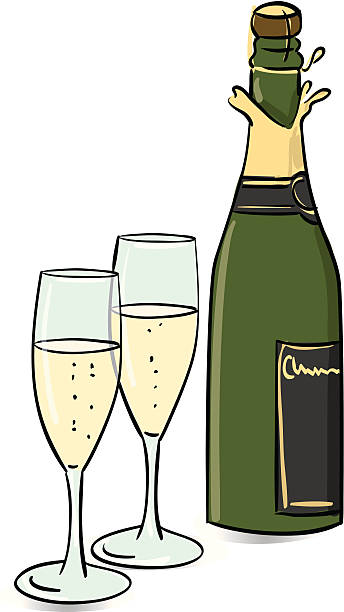 Champagne vector art illustration