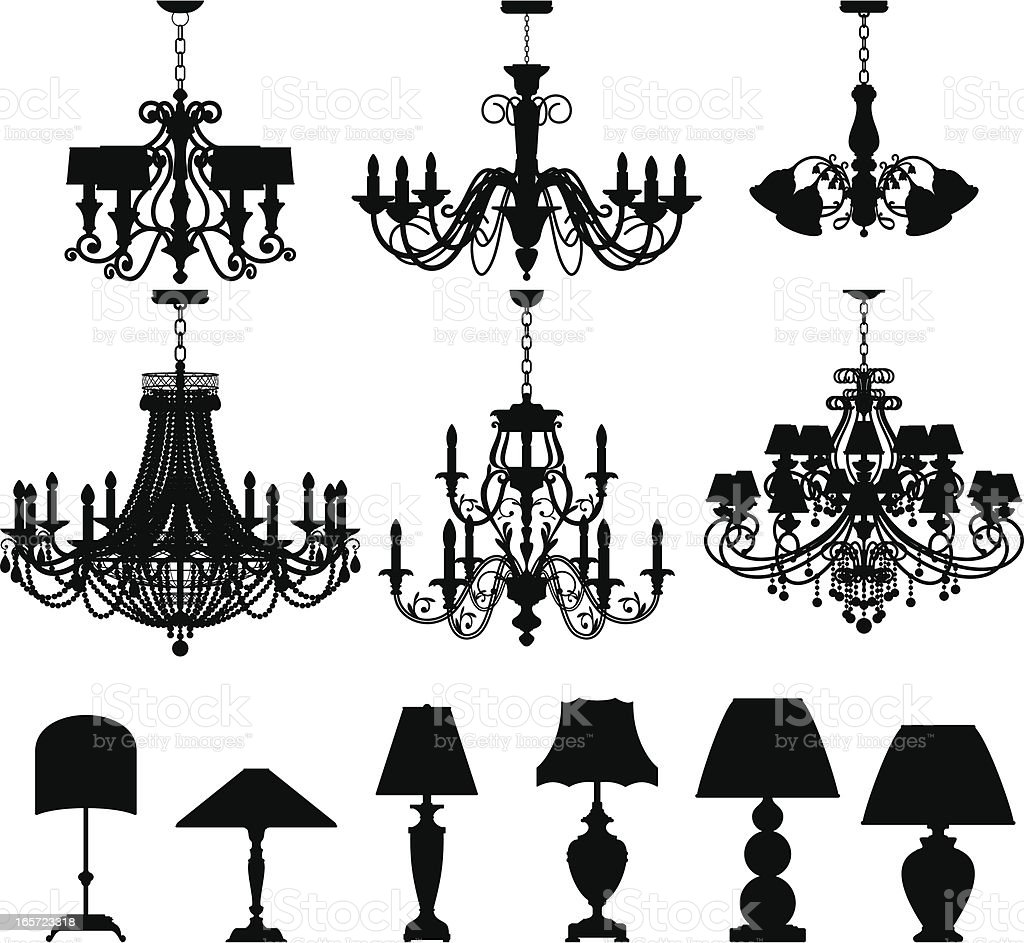 Chandeliers and Lamps vector art illustration