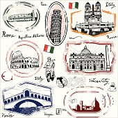 Stylized stamps of famous landmarks of Italy