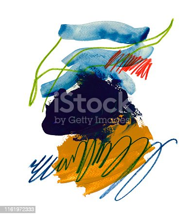 Chaotic scribble and smears raster illustration. Multicolor pencil scrawl and watercolor paint brushstrokes isolated on white background. Red, yellow, black, blue and green daub. Undigested swabs