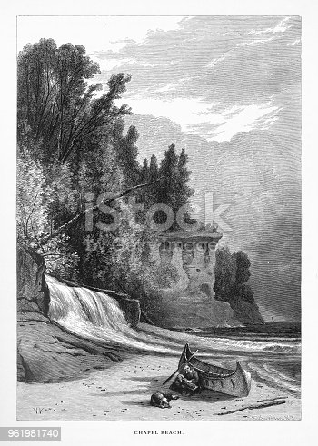 Very Rare, Beautifully Illustrated Antique Engraving of Chapel Beach, Lake Superior, Minnesota, United States, American Victorian Engraving, 1872. Source: Original edition from my own archives. Copyright has expired on this artwork. Digitally restored.