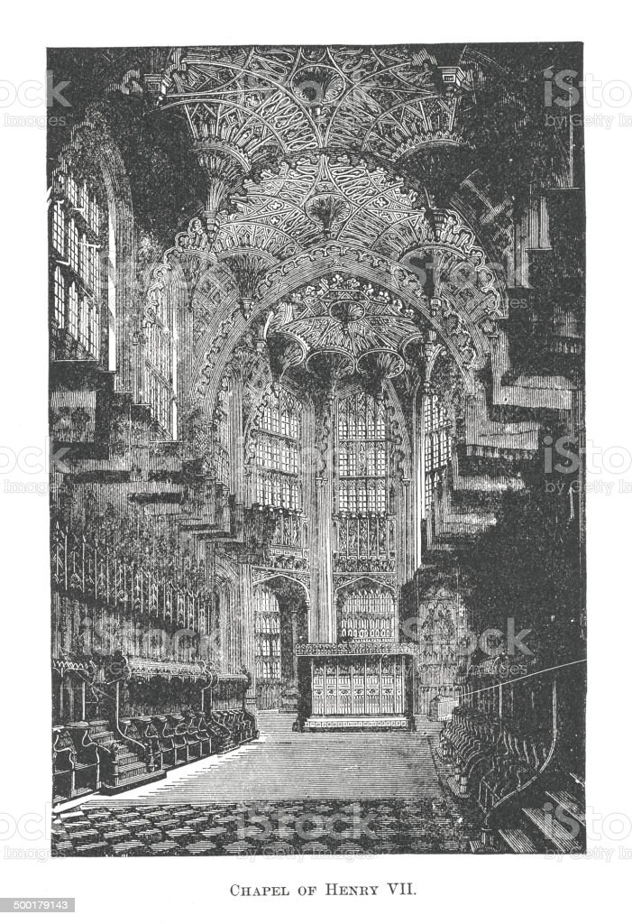 Chapel of Henry VII. (antique engraving) royalty-free stock vector art