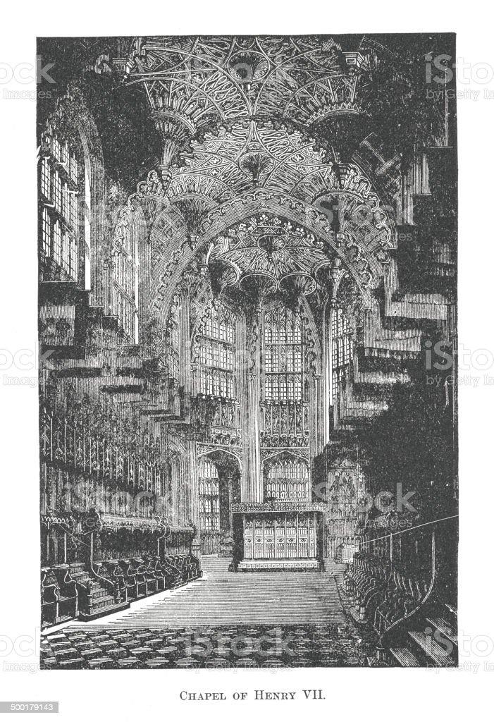 Chapel of Henry VII. (antique engraving) vector art illustration