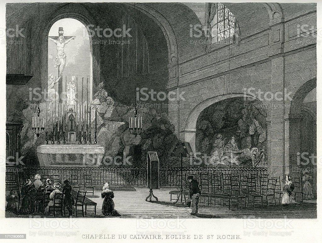 Chapelle du Calvaire royalty-free stock vector art