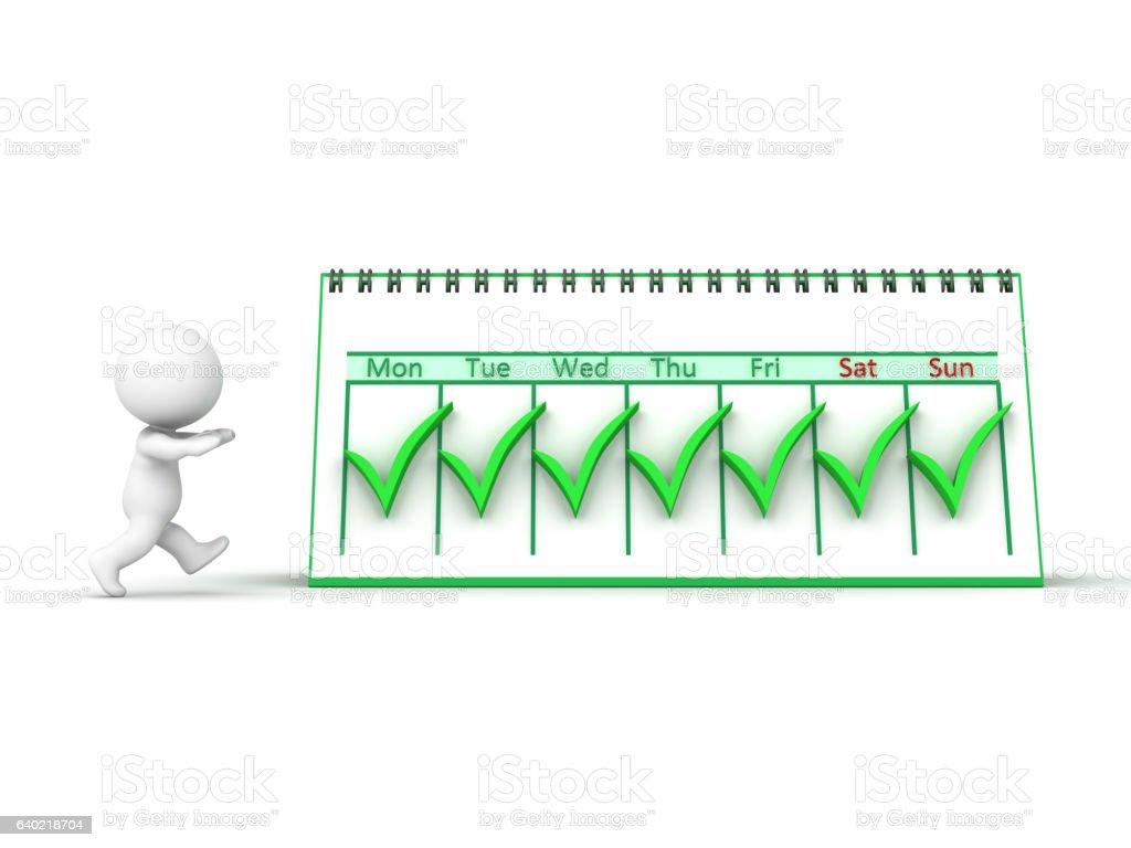 3D Character and Calendar vector art illustration