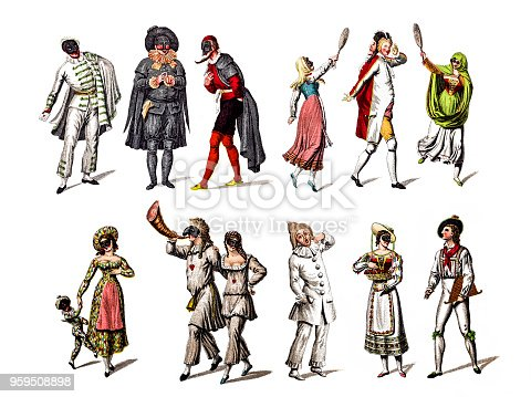 Illustration of a Character from the Commedia dell'arte play