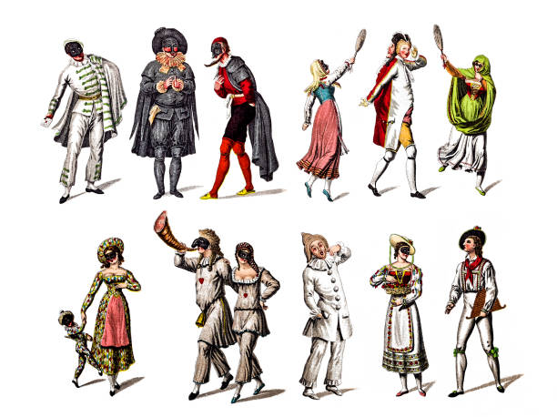 stockillustraties, clipart, cartoons en iconen met personage uit het toneelstuk commedia dell'arte - 18e eeuw