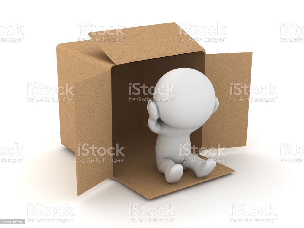 3D Character is homeless and lives in a cardboard box royalty-free 3d character is homeless and lives in a cardboard box stock vector art & more images of addiction