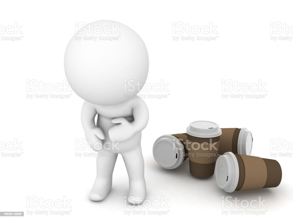 3D Character is sick from drinking too much coffee royalty-free 3d character is sick from drinking too much coffee stock vector art & more images of addiction