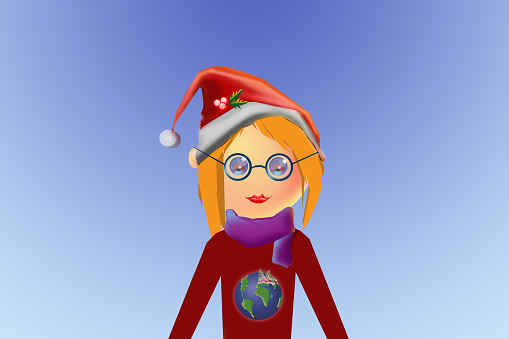 Character of a young girl  in Christmas clothes.