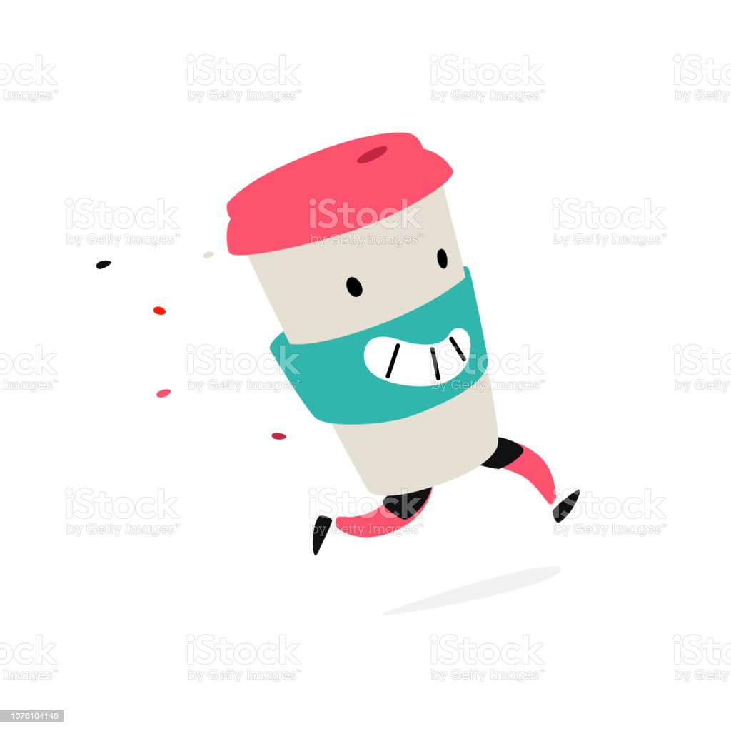 Character running glass. Logo for coffee shops and fast food. Funny illustration of a plastic cup. Cartoon badge, emblem for the company. Sticker and mascot for the store site. vector art illustration