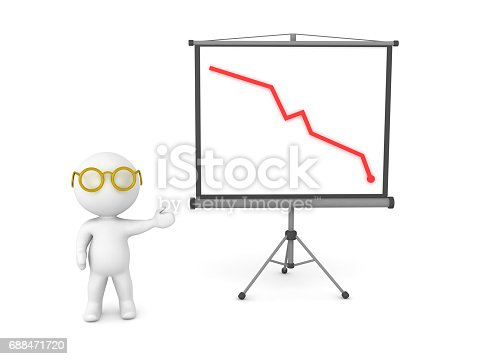 3D Character showing decline graph on projector screen. Image depicting presentation.
