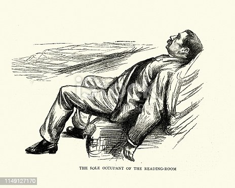 Vintage engraving of a Character sketch of man asleep in the reading room. Visit to Monte Carlo by Paul Renouard, 19th Century