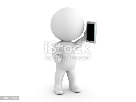 3D Character talking on the phone. Image can be used in a communication scenario.