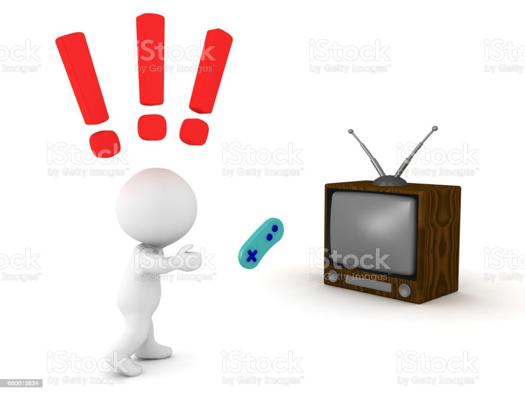 3D Character throwing controller at television royalty-free 3d character throwing controller at television stock vector art & more images of addiction