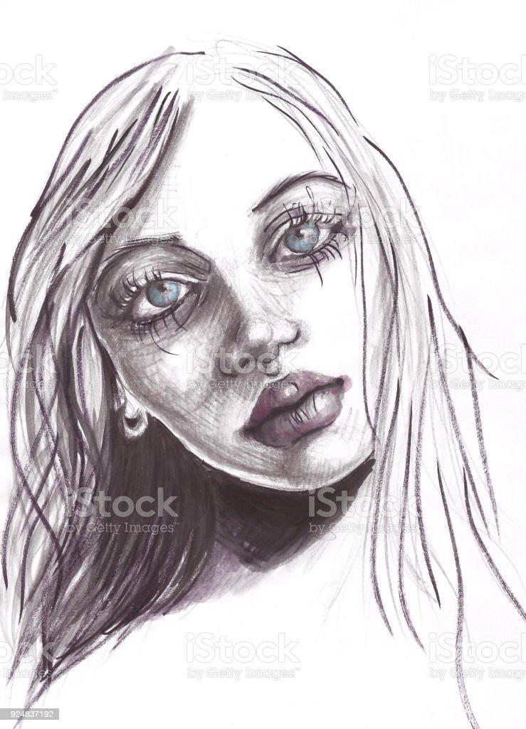Portrait Au Fusain Et Aquarelle Dessin De Belle Jeune Fille