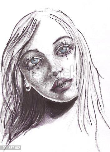 Hand drawn woman portrait sketch