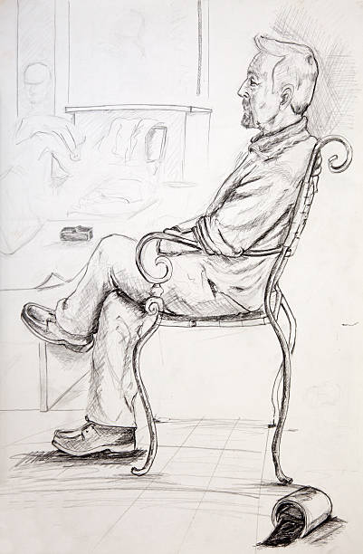 charcoal draw xxl - old man sitting chair drawing stock illustrations, clip art, cartoons, & icons