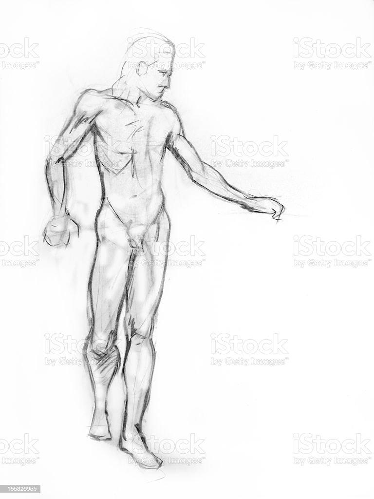 Holzkohle Linie Abbildung Eines Mächtigen Stehende Nackte Mann Stock ...