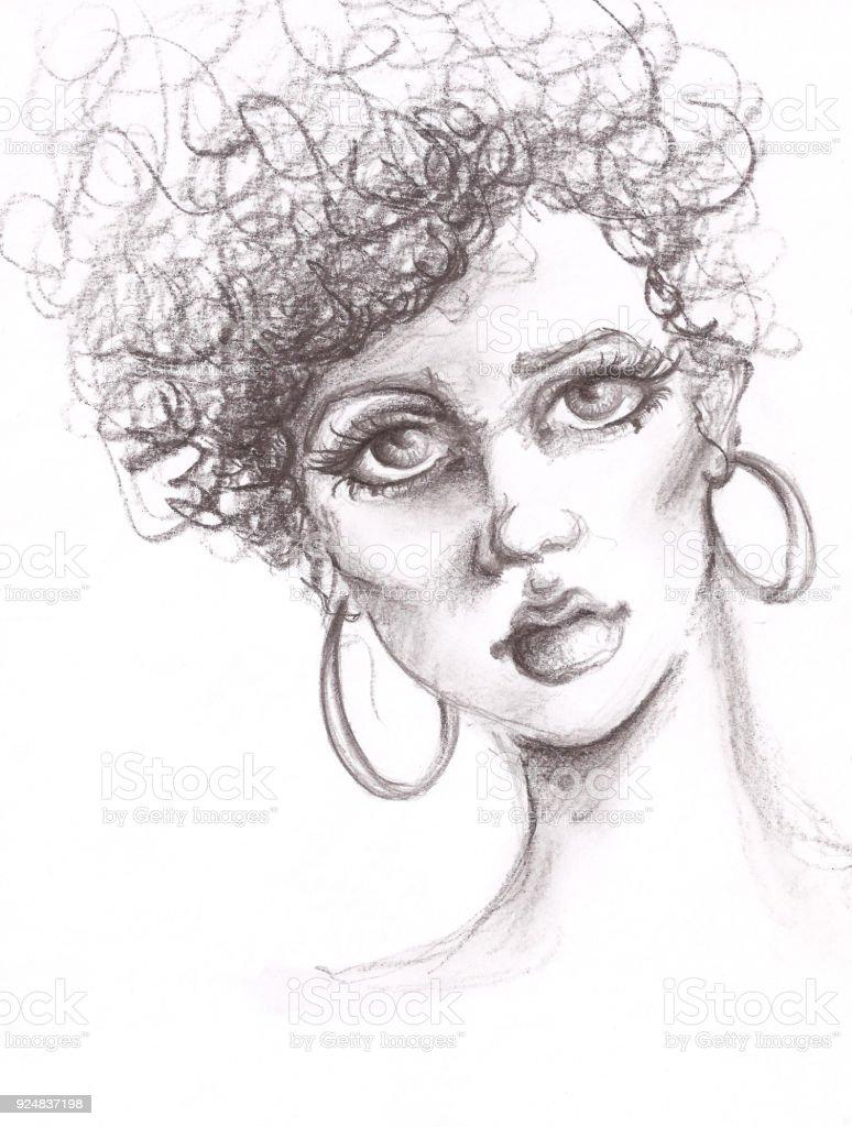 Portrait De Femme Fusain Dessin Aux Cheveux Bouclés