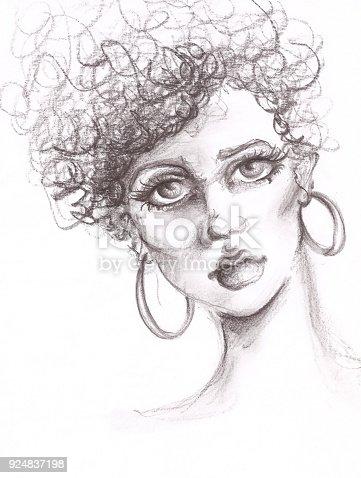 Hand drawn fashion portrait illustration