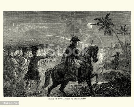 Vintage engraving of the Charge of Highlanders at the Siege of Seringapatam. The Siege of Seringapatam (5 April – 4 May 1799) was the final confrontation of the Fourth Anglo-Mysore War between the British East India Company and the Kingdom of Mysore.