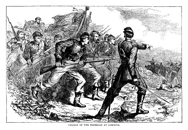 charge of the federals at corinth - confederate flag stock illustrations, clip art, cartoons, & icons
