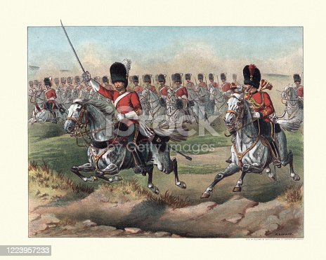 Vintage illustration of Charge of the Royal Scots Greys, 2nd Dragoons, 19th Century. A cavalry regiment of the British Army from 1707 until 1971