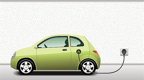 Charging Hybrid Car Electric and Plug-In Hybrid Vehicle Charging. hybrid vehicle stock illustrations