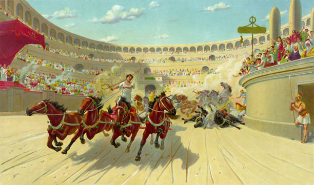 chariot race in ancient times - empire stock illustrations