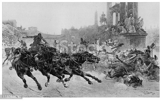 Chariot race in the coliseum - Scanned 1894 Engraving