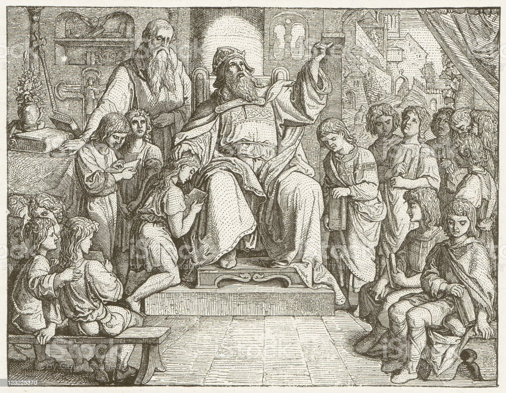 Charlemagne (747-814) in his Palace School, wood engraving, published 1881 vector art illustration