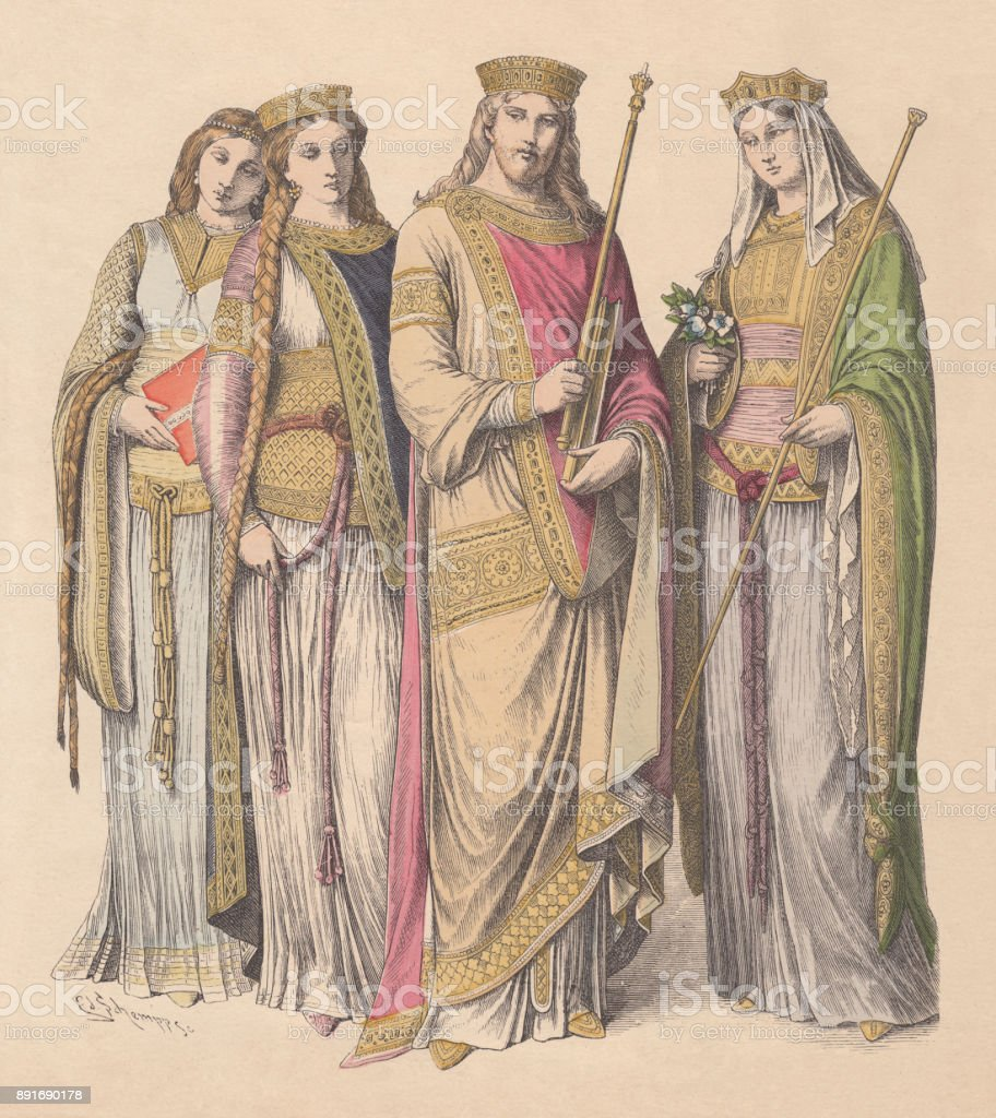 Charlemagne with Francish women, hand-colored wood engraving, published c.1880 vector art illustration