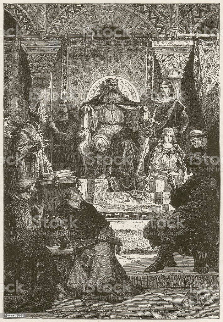 Charlemagne (747/748-814), wood engraving, published in 1881 royalty-free stock vector art