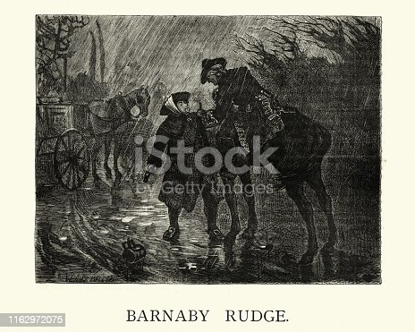 Vintage engraving of Charles Dickens, Barnaby Rudge, Travelers in a rainstorm, 19th Century